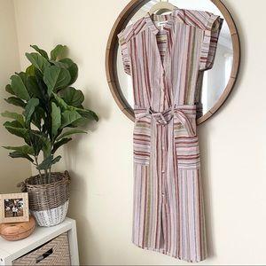 Monteau / Vertical Striped 70s Dress